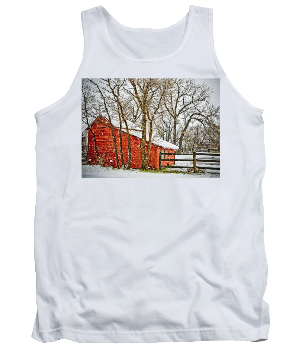 Americana Tank Top featuring the photograph Loafing Shed by Marilyn Hunt
