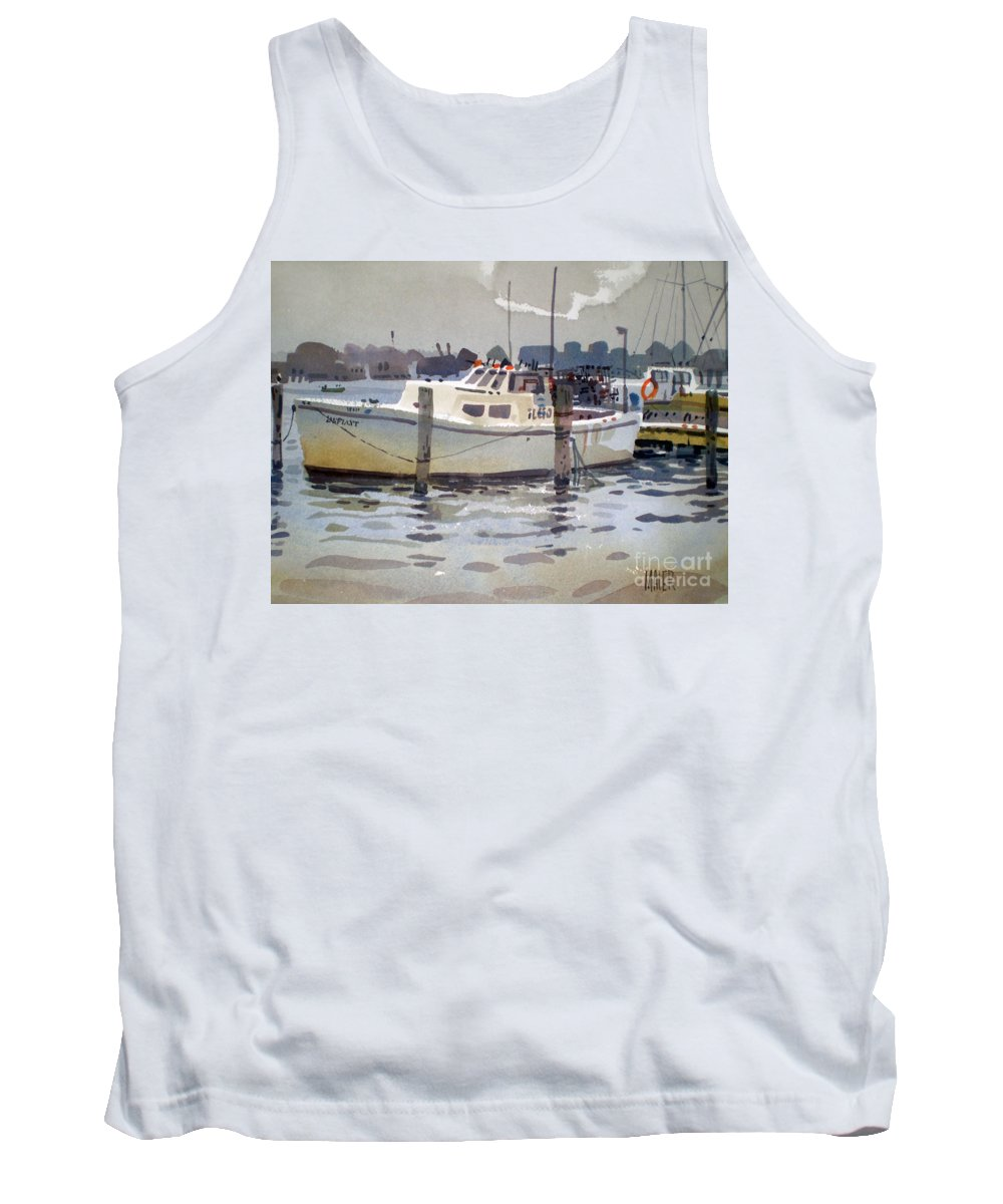 Lobster Boat Tank Top featuring the painting Lobster Boats In Shark River by Donald Maier