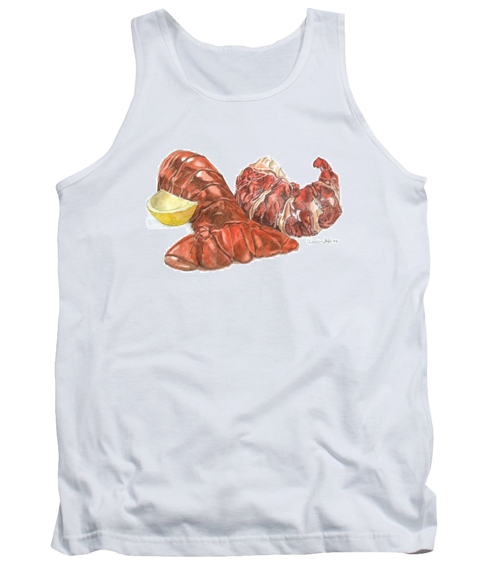 Lobster Tank Top featuring the painting Lobster Tail And Meat by Dominic White