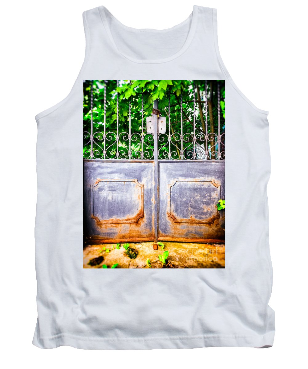 Architecture Tank Top featuring the photograph Locked Gate With Trees by Silvia Ganora