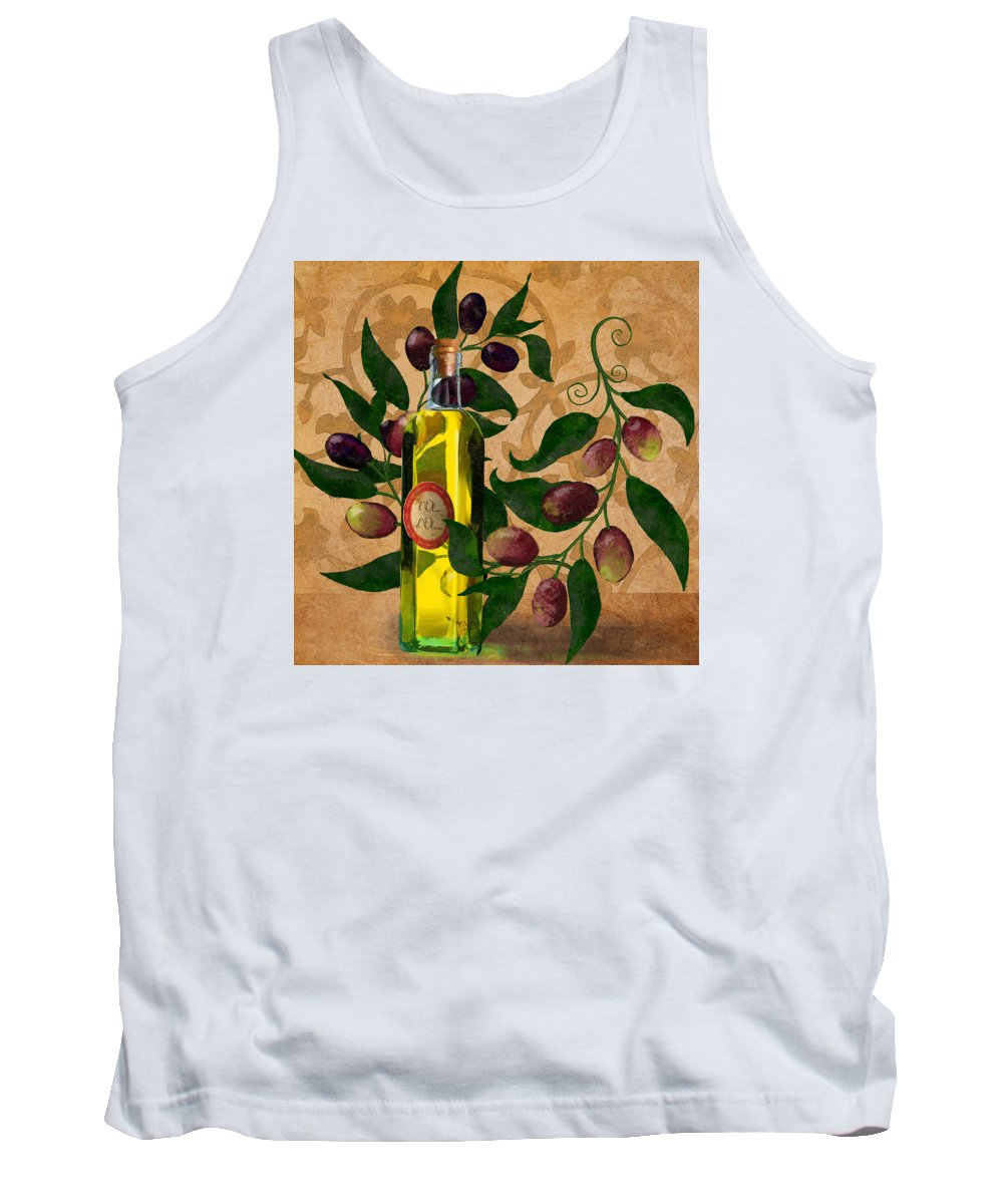 Painterly Tank Top featuring the painting l'Olivo d'Oliva, Olives, Italian food Olive Oil kitchen art by Tina Lavoie