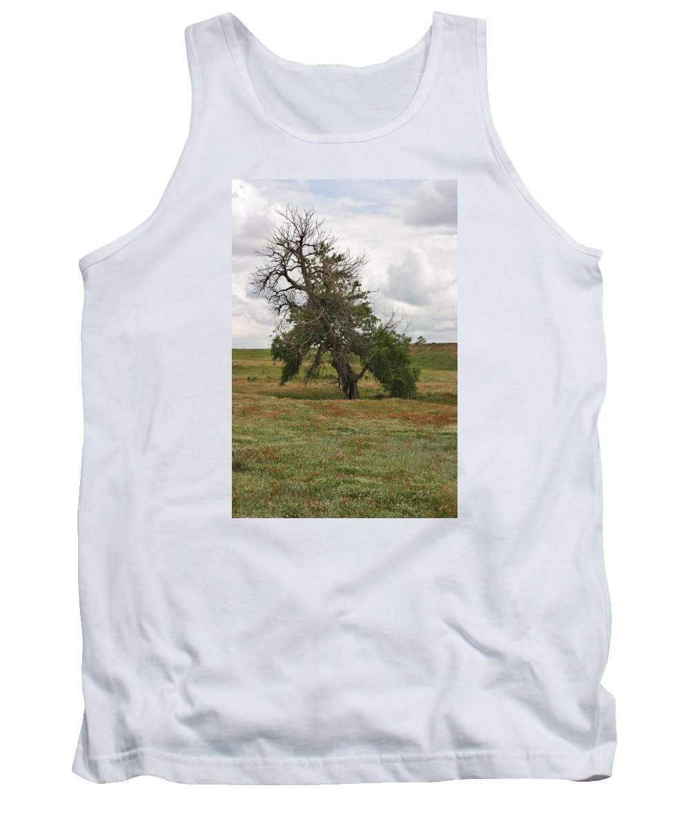 Landscape Tank Top featuring the photograph Lonely Tree In West Texas by Val Conrad