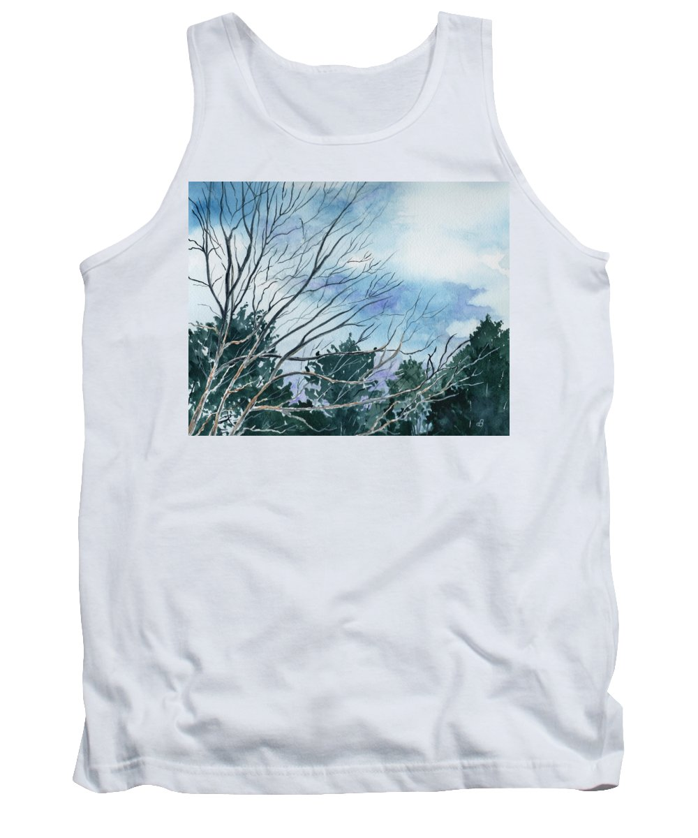 Watercolor Landscape Trees Sky Clouds Blue Tank Top featuring the painting Look To The Sky by Brenda Owen