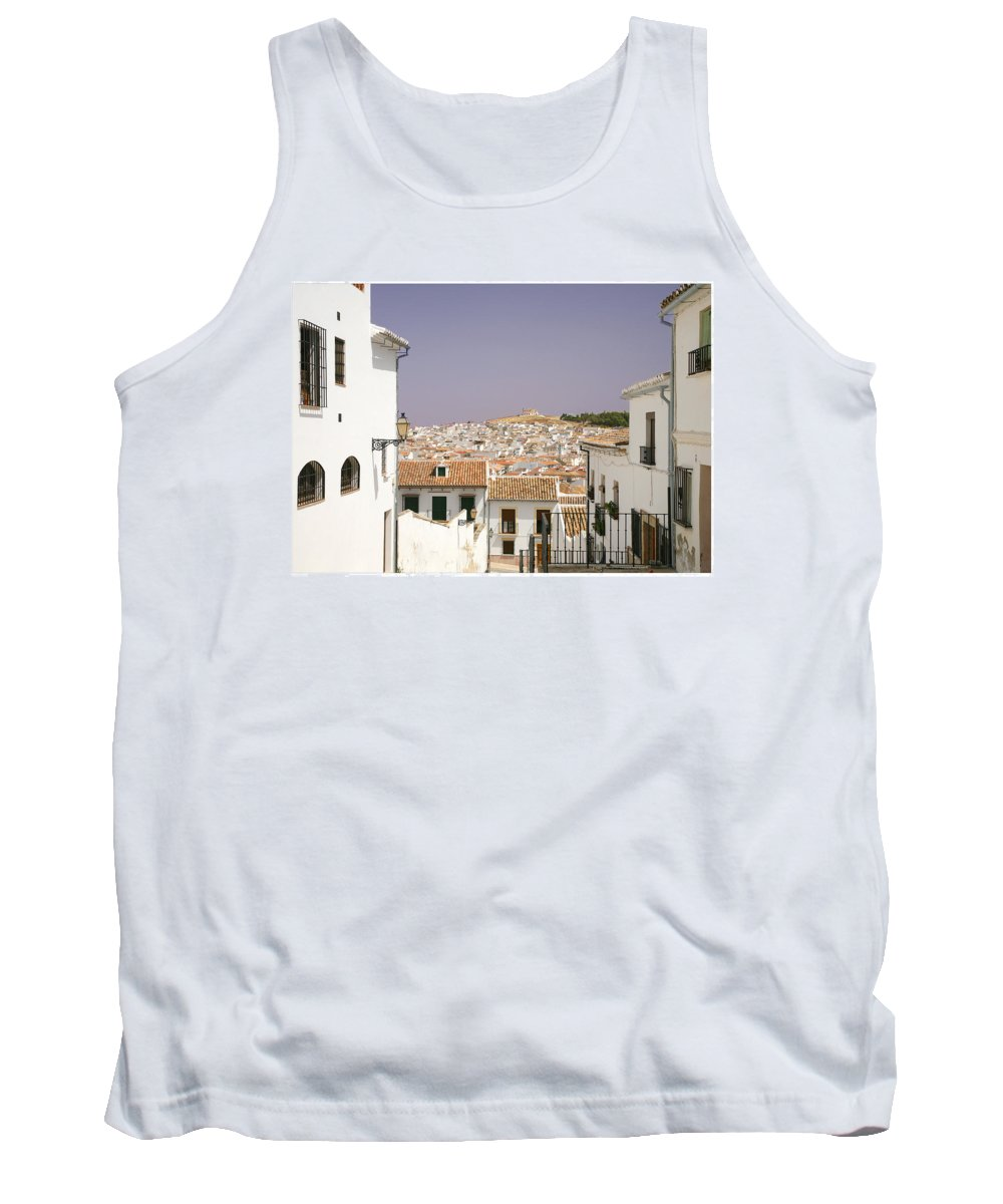 Antequera Tank Top featuring the photograph Looking Down Over Antequera From Near The Church Of Santa Maria La Mayor by Mal Bray