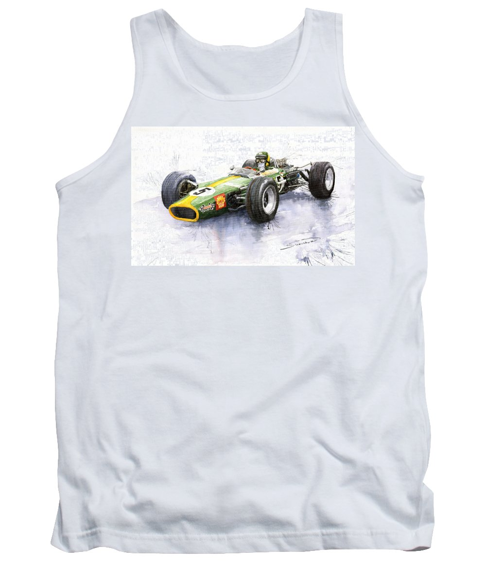 Watercolour Tank Top featuring the painting Lotus 49 Ford F1 Jim Clark by Yuriy Shevchuk