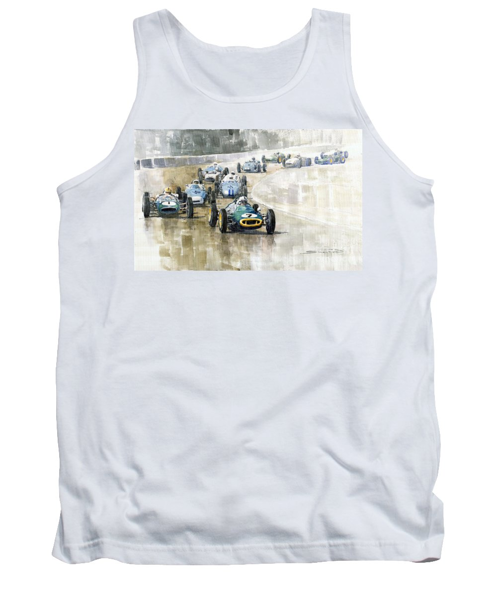 Automotive Tank Top featuring the painting 1961 Germany Gp #7 Lotus Climax Stirling Moss Winner by Yuriy Shevchuk