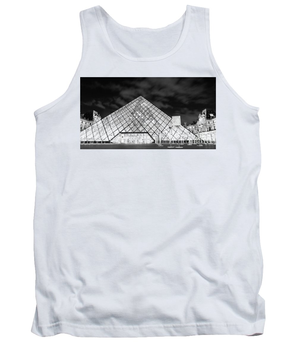 Paris Tank Top featuring the photograph Louvre Museum Bw by Alex Art and Photo