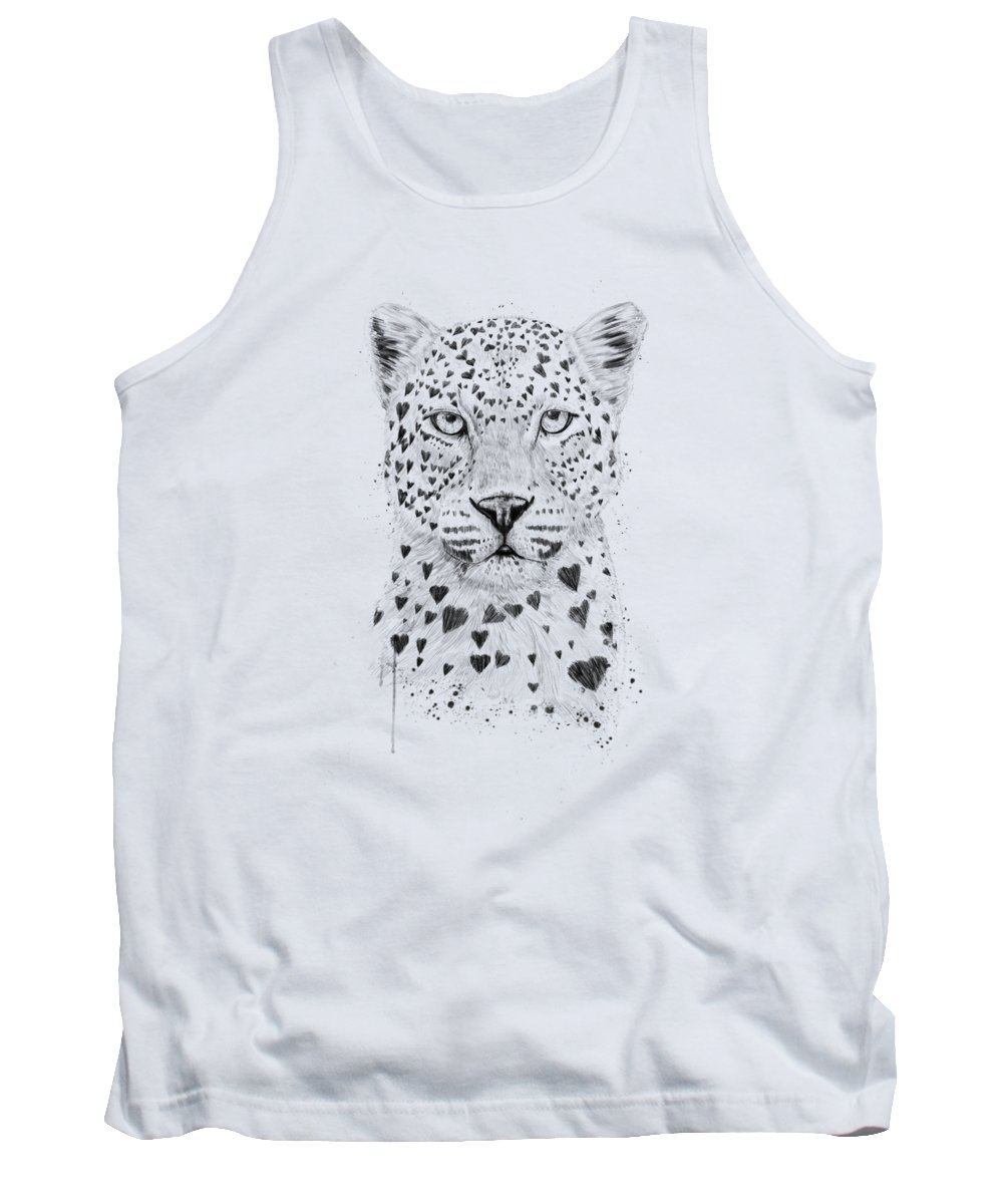 Leopard Tank Top featuring the drawing Lovely leopard by Balazs Solti