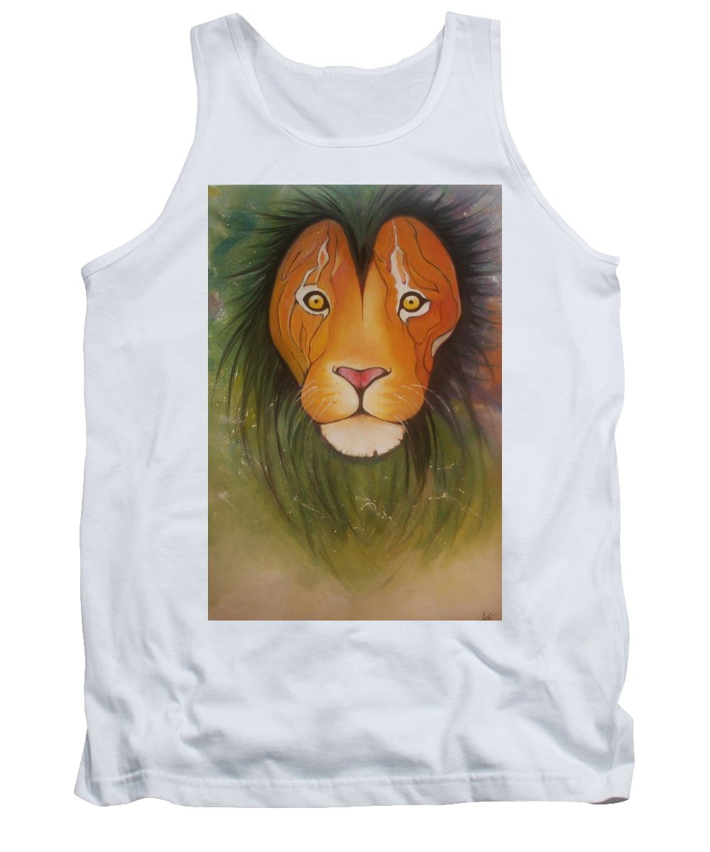 #lion #oilpainting #animal #colorful Tank Top featuring the painting Lovelylion by Anne Sue