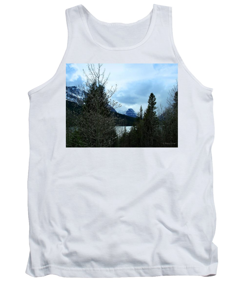 Two Medicine Lake Tank Top featuring the photograph Lower Two Med Lake Through The Trees by Tracey Vivar