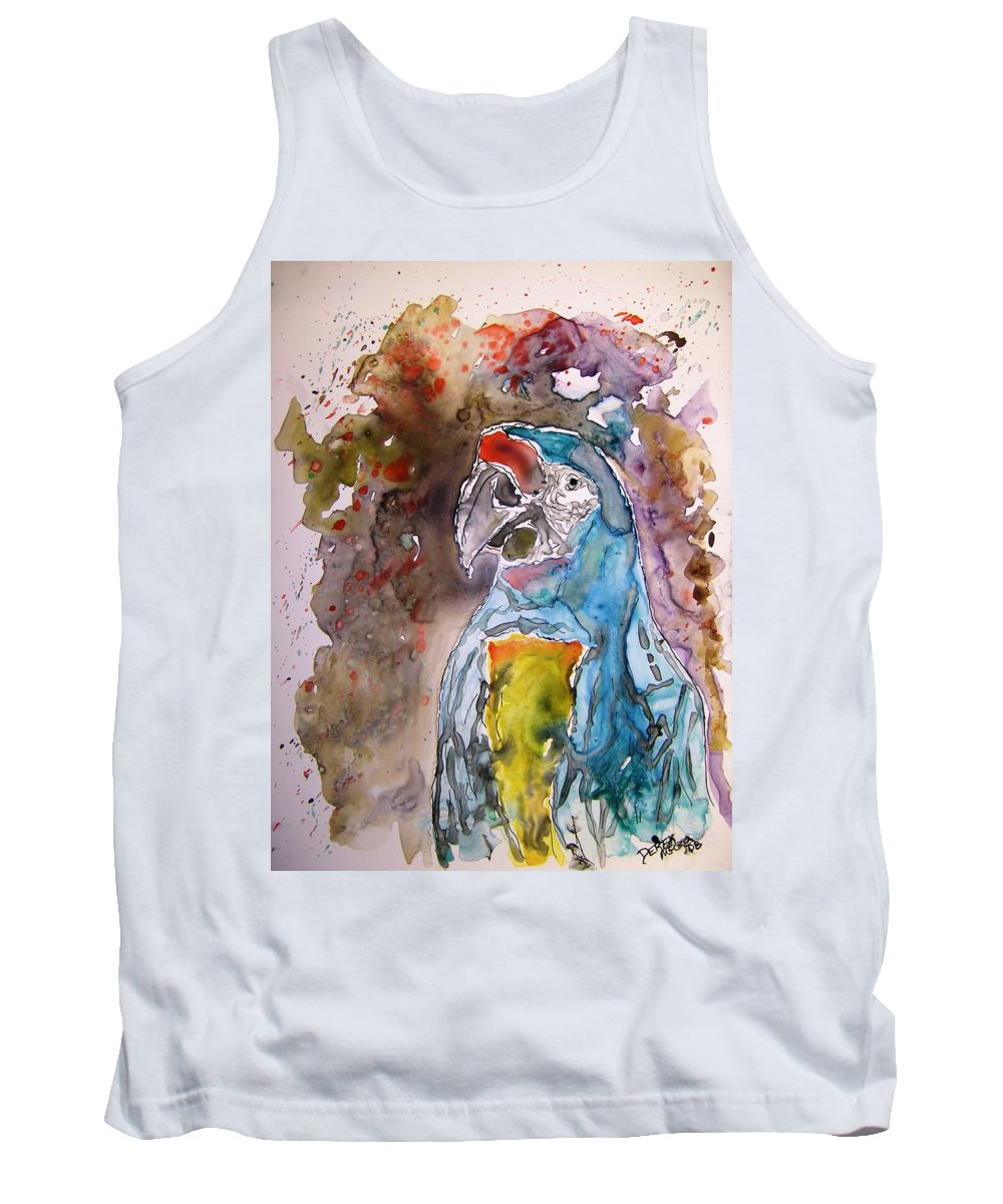Parrot Tank Top featuring the painting Macaw Parrot by Derek Mccrea
