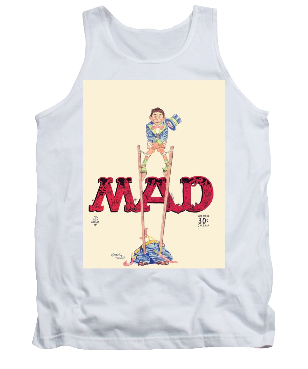Mad Magazine Tank Top featuring the drawing Mad Magazine Cover by William Beyer