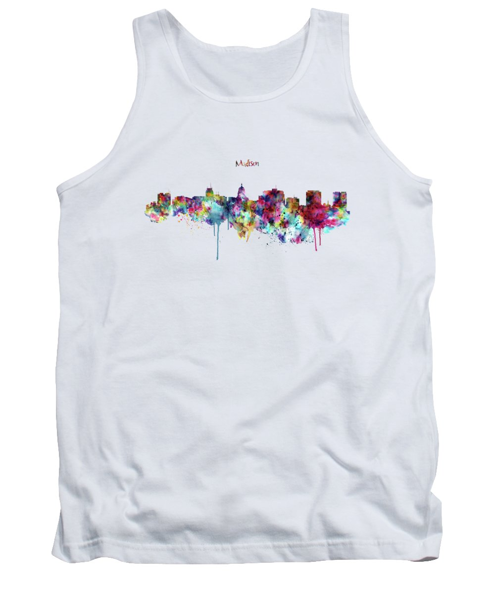 Madison Tank Top featuring the mixed media Madison Skyline Silhouette by Marian Voicu