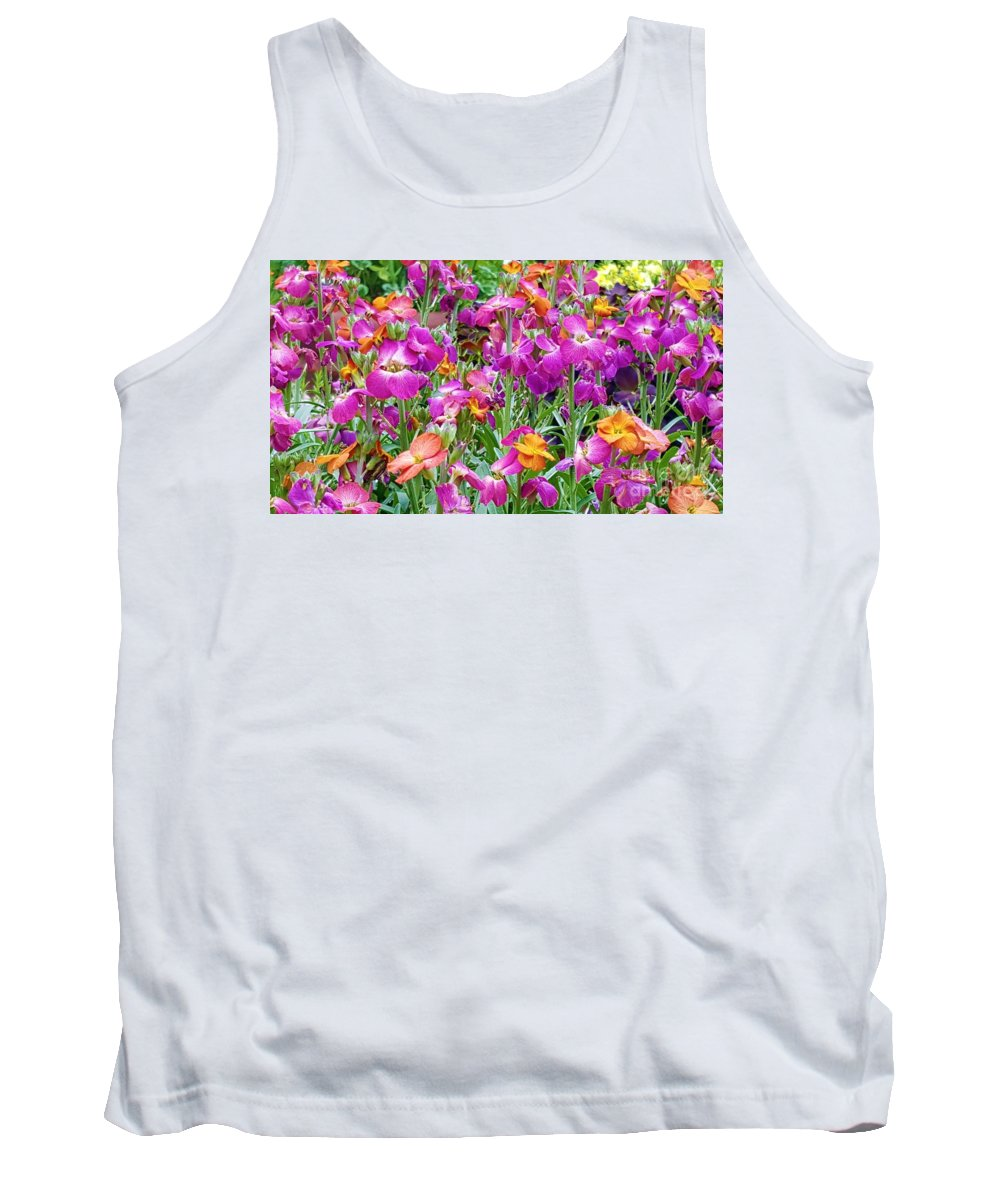 Magenta Tank Top featuring the tapestry - textile Magenta Floral Pattern by Jessica T Hamilton