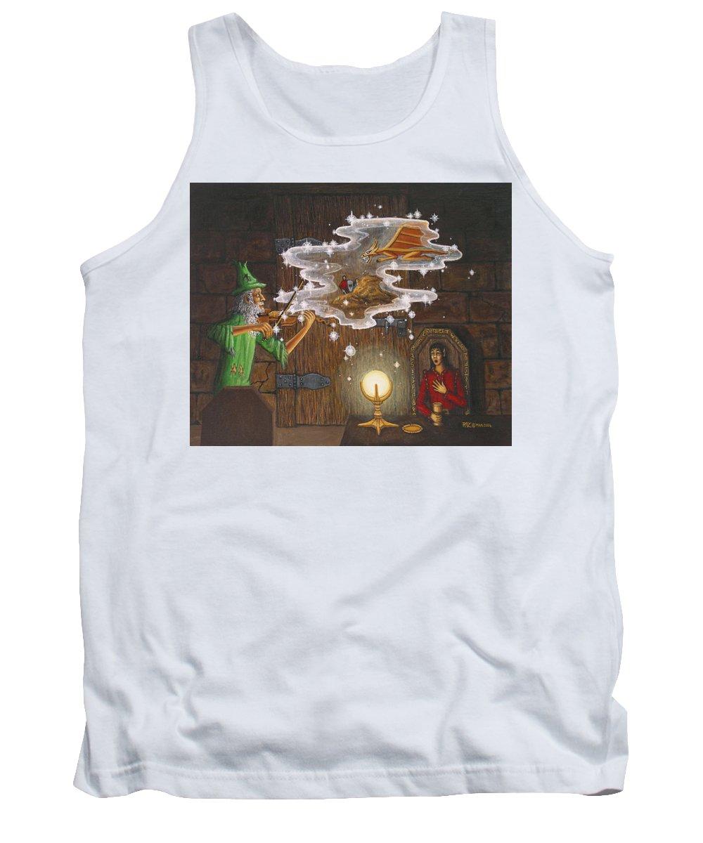 Fantasy Tank Top featuring the painting Magic Violin by Roz Eve