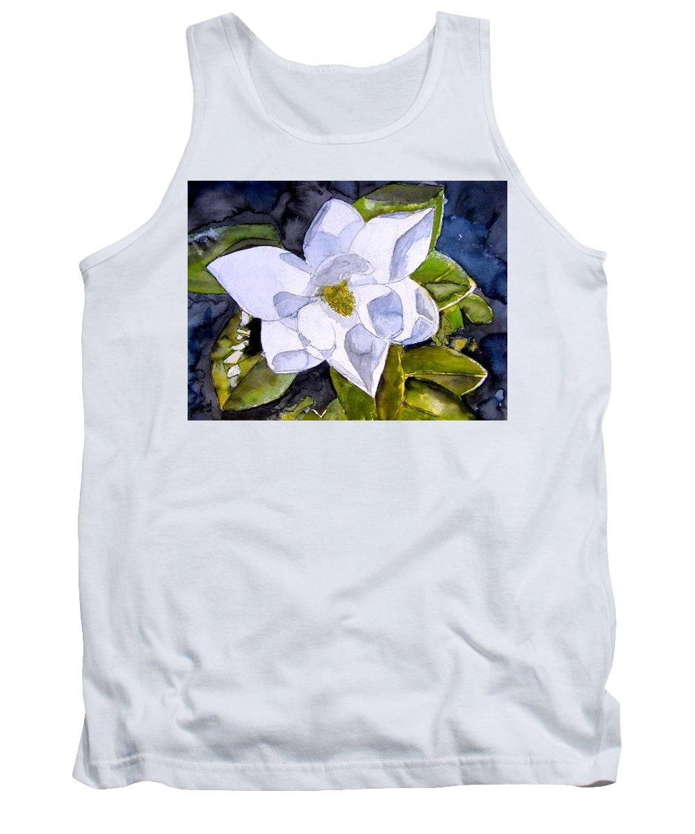 Magnolia Tank Top featuring the painting Magnolia 2 Flower Art by Derek Mccrea