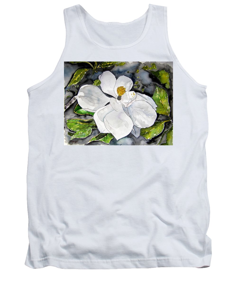 Magnolia Tank Top featuring the painting Magnolia Tree Flower by Derek Mccrea
