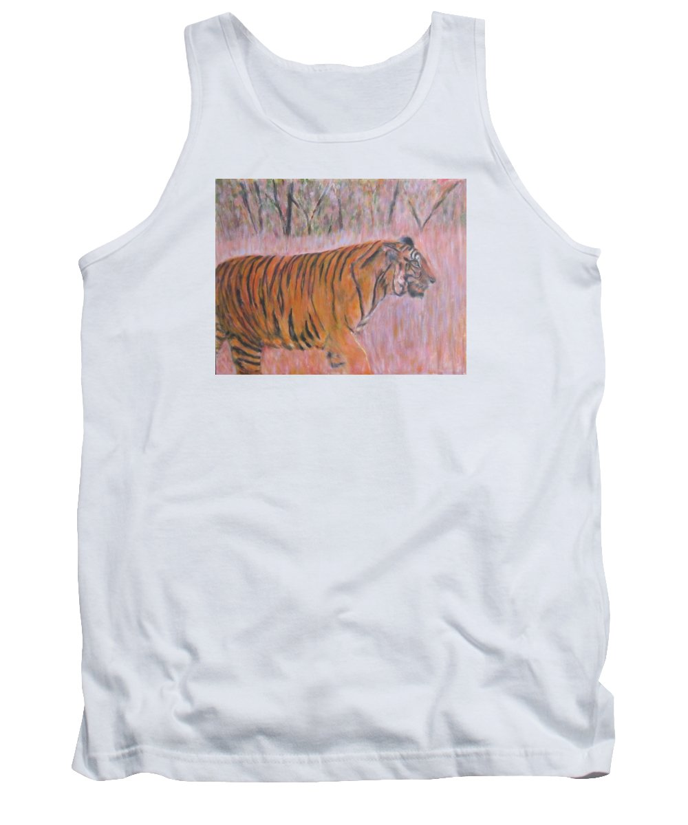 Impressionism Tank Top featuring the painting Adult Male Tiger Of India Striding At Sunset by Glenda Crigger