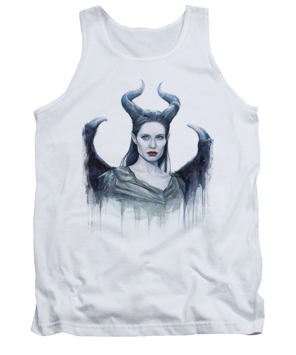 Maleficent Tank Top featuring the painting Maleficent Watercolor Portrait by Olga Shvartsur