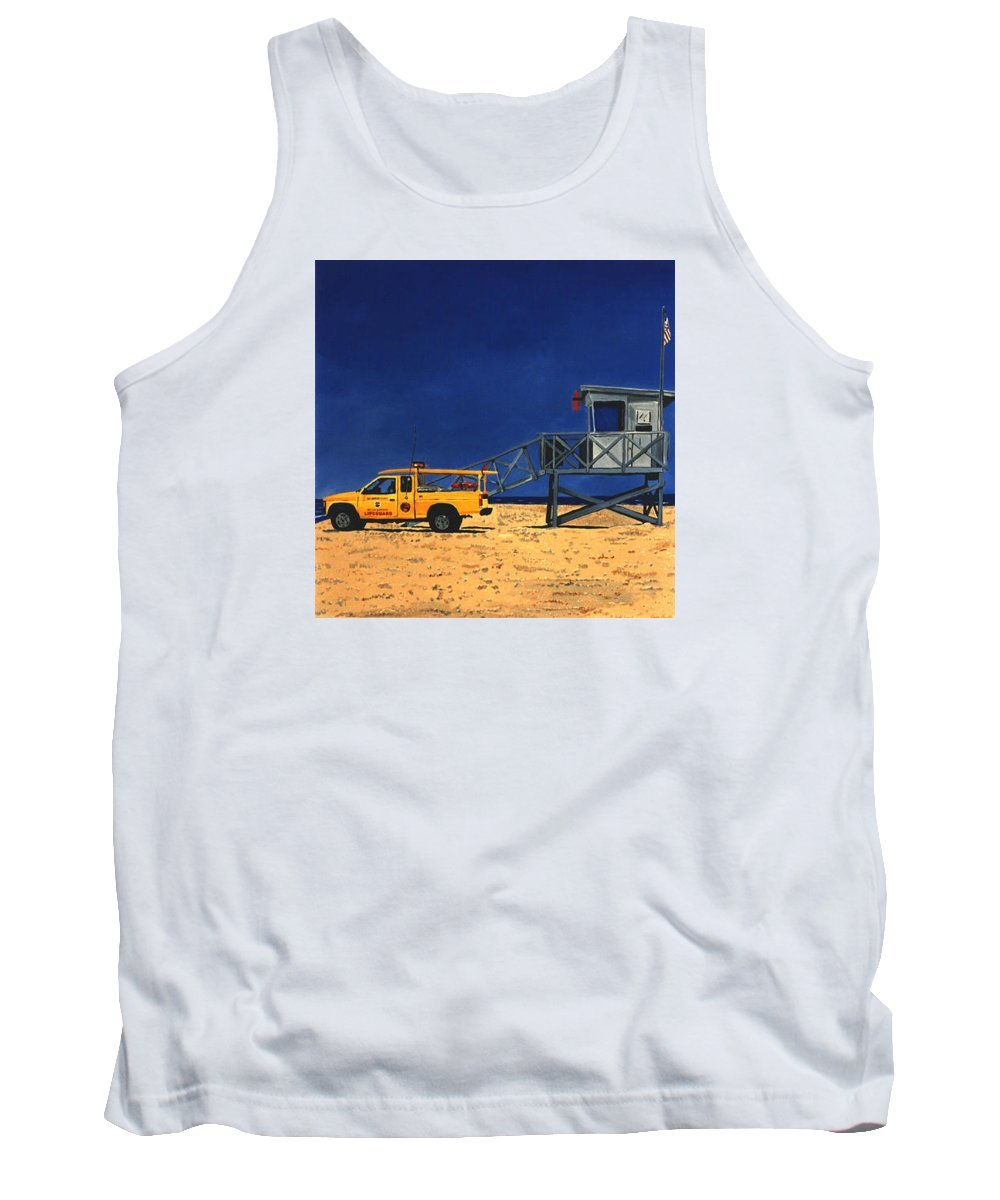 Modern Tank Top featuring the painting Manhattan Beach Lifeguard Station Side by Lance Headlee