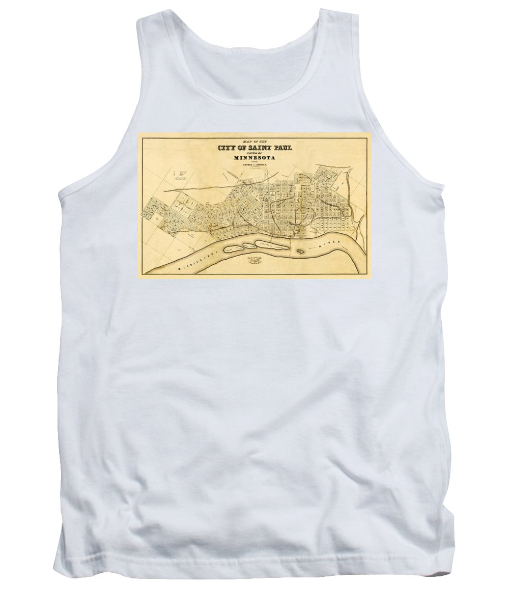 Saint Paul Tank Top featuring the photograph Map Of Saint Paul 1852 by Andrew Fare