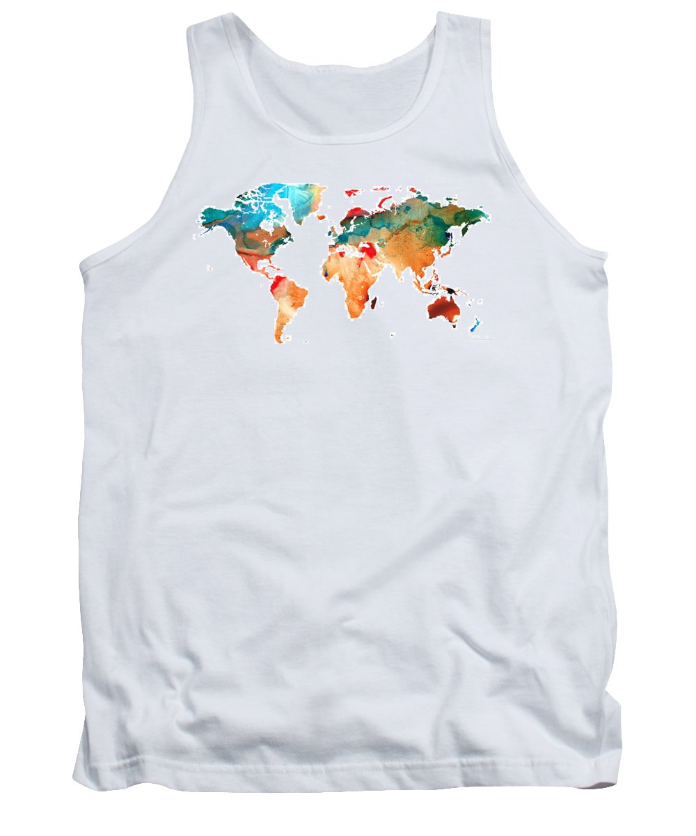 Map Tank Top featuring the painting Map Of The World 7 -colorful Abstract Art by Sharon Cummings