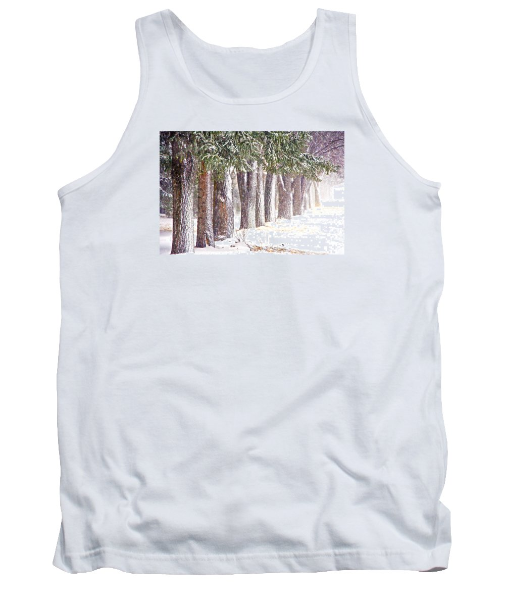 Tank Top featuring the photograph Maple Street Maples Colourized by Darcy Dietrich