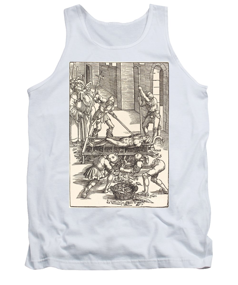 Tank Top featuring the drawing Martyrdom Of Saint Lawrence by Hans Baldung Grien