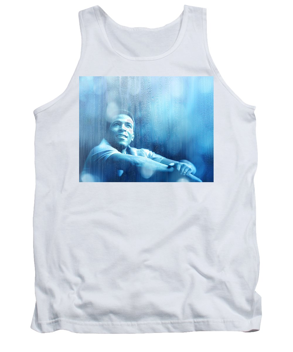 Marvin Gaye Tank Top featuring the mixed media Marvin Gaye by Mal Bray