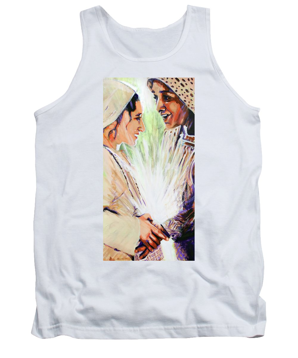The Visitation Tank Top featuring the painting Mary Visits Elizabeth by Steve Gamba