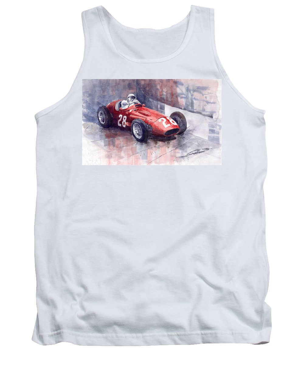 Watercolour Tank Top featuring the painting Maserati 250 F Gp Monaco 1956 Stirling Moss by Yuriy Shevchuk