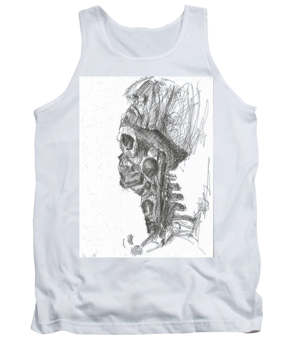 Skull Skeleton Skinned Pen Drawing Paper Bone Creepy Dark Tank Top featuring the drawing Mask Off by Lampros Christakis