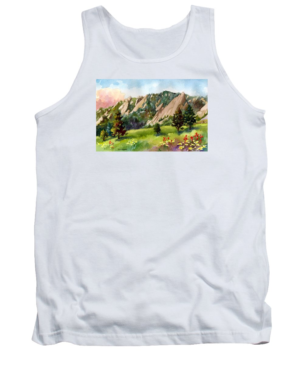 Mountains Art Paintings Tank Top featuring the painting Meadow At Chautauqua by Anne Gifford