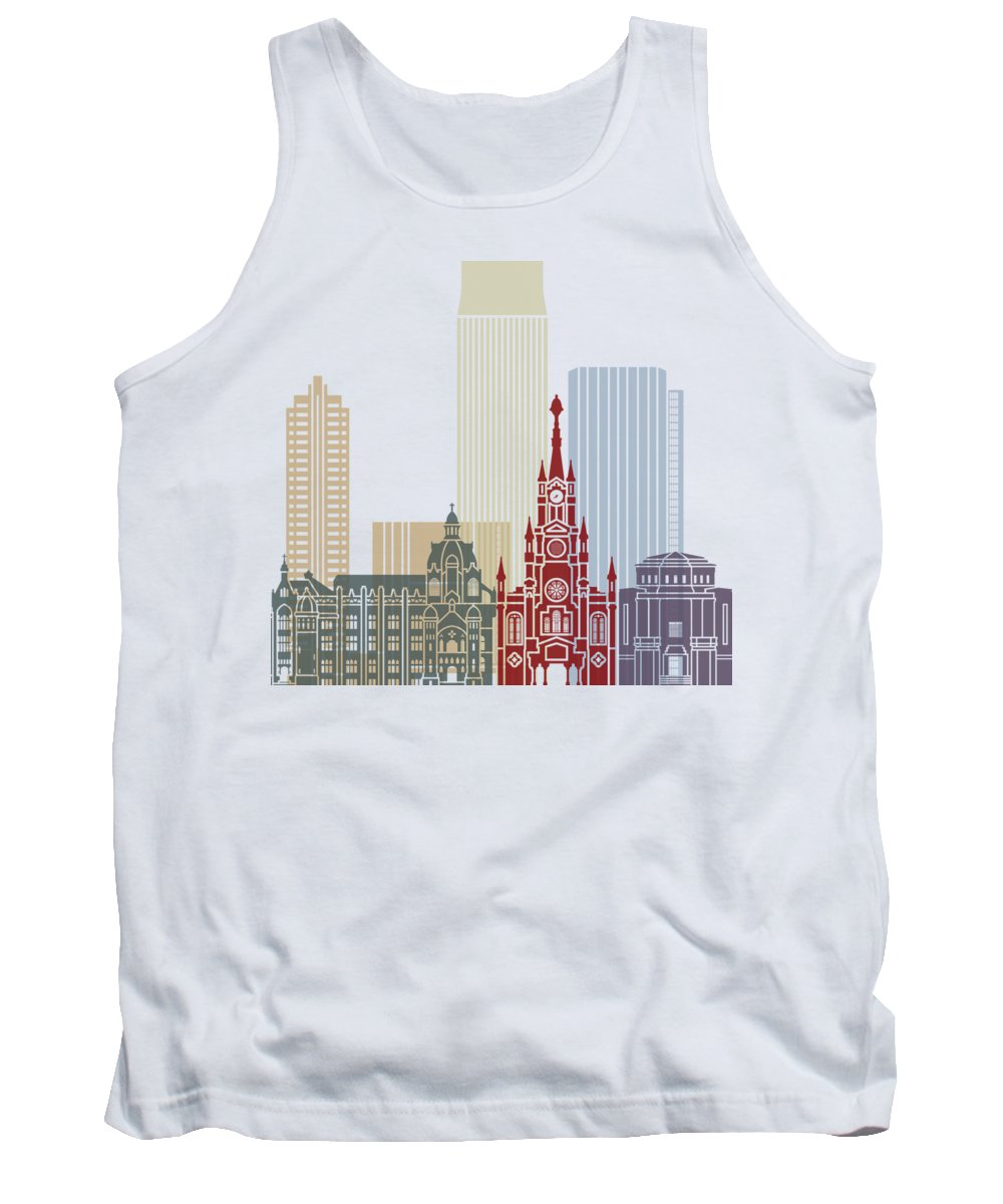 Medellin Tank Top featuring the painting Medellin Skyline In Poster by Pablo Romero