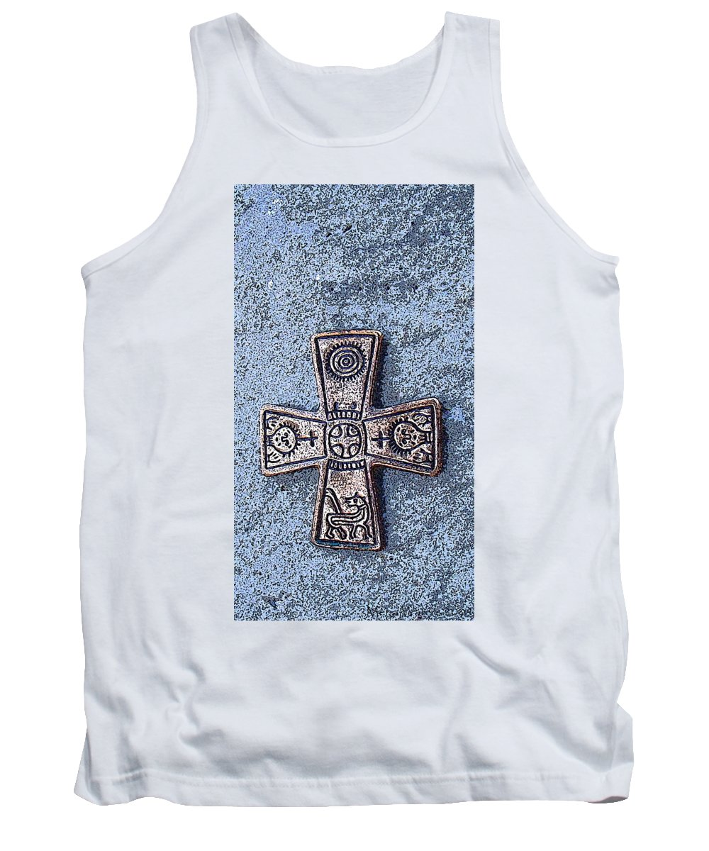 Cross Tank Top featuring the photograph Medieval Nordic Cross by Merja Waters
