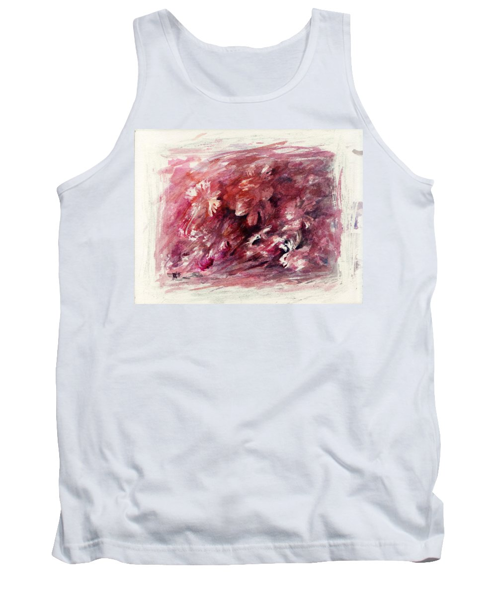 Floral Tank Top featuring the painting Melancholic Moment by Rachel Christine Nowicki