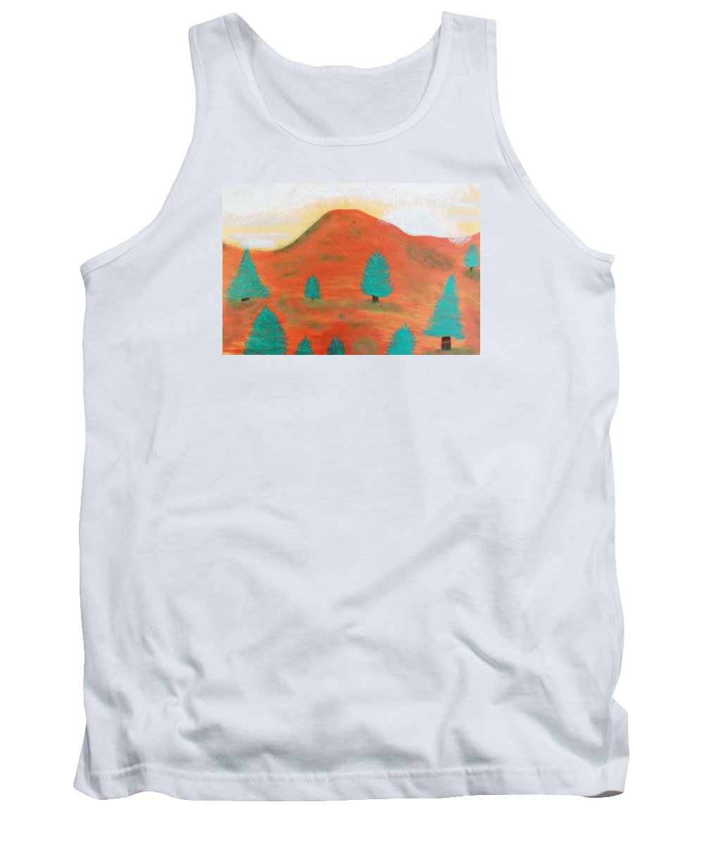 Metallic Tank Top featuring the painting Metallic Landscape by Connie Ann LaPointe