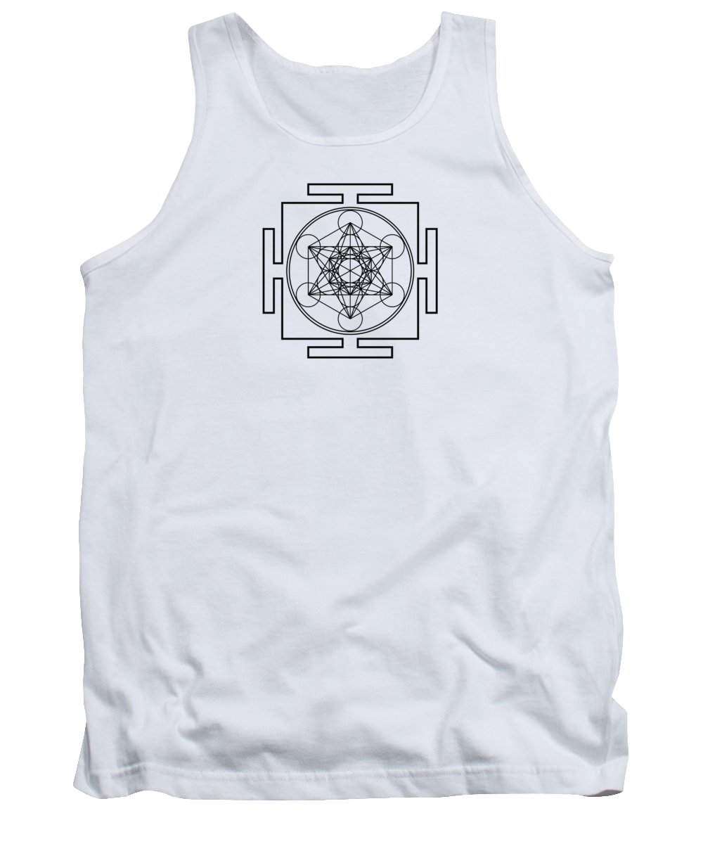 Metatron's Cube Tank Top featuring the digital art Metatron's Cube - Black by Galactic Mantra