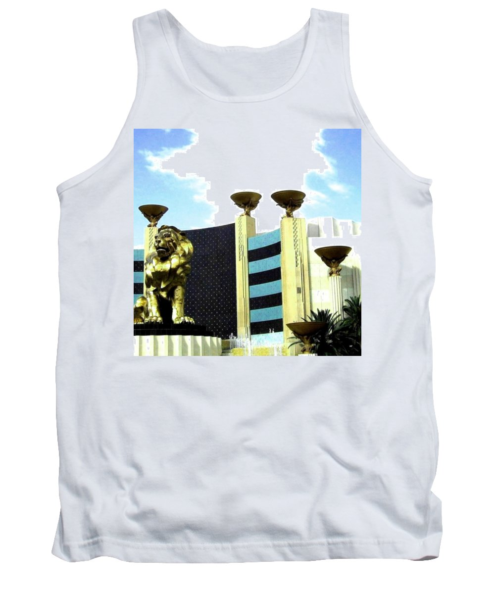 Mgm Tank Top featuring the photograph Mgm Lion In Las Vegas by Will Borden