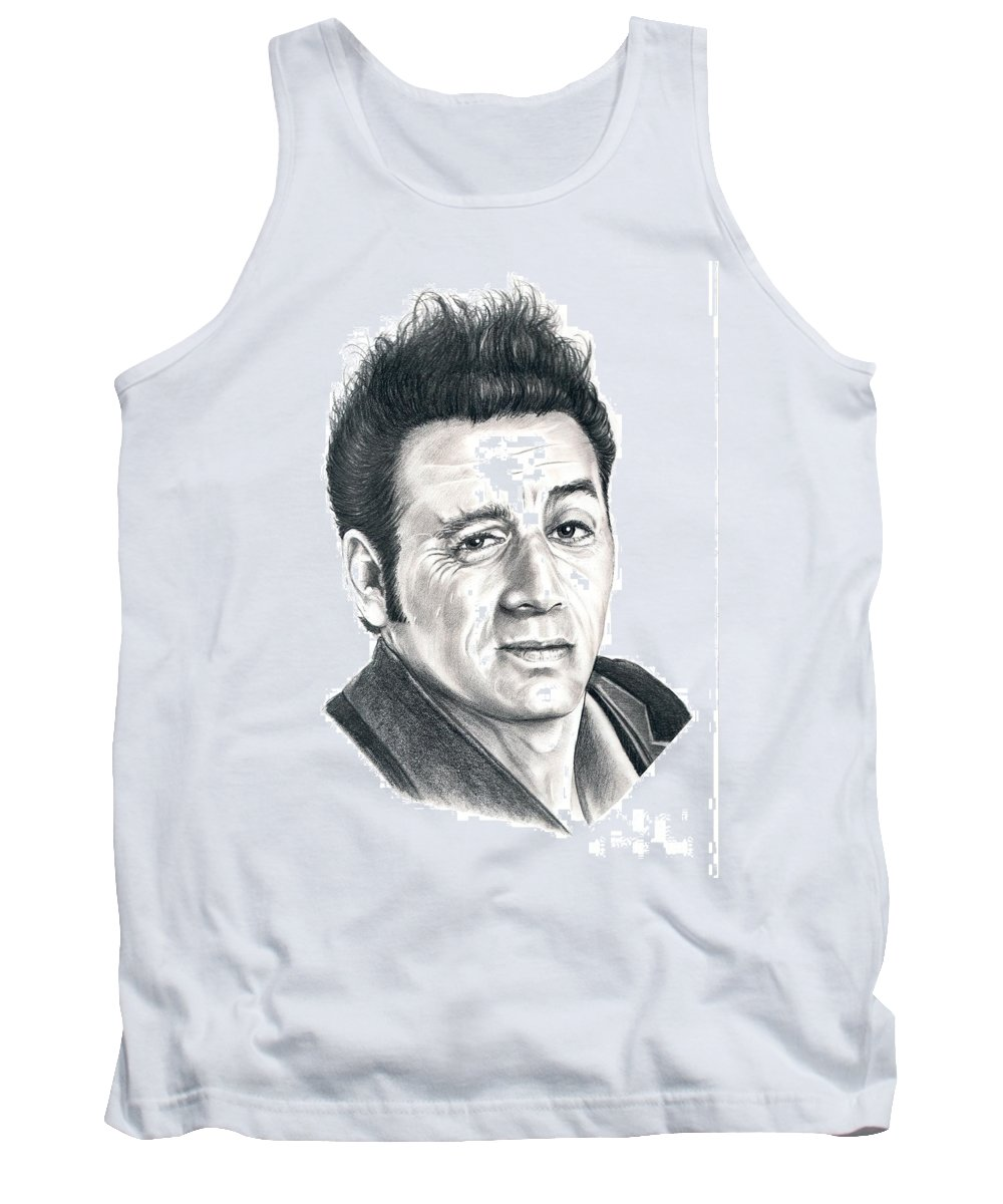 Pencil Tank Top featuring the drawing Michael Richards Cosmo Kramer by Murphy Elliott
