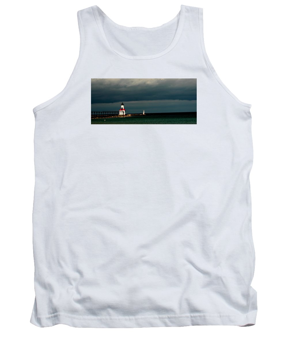 #michigan City Lighthouse Tank Top featuring the photograph Michigan City Lighthouse By Earl's Photography by Earl Eells a