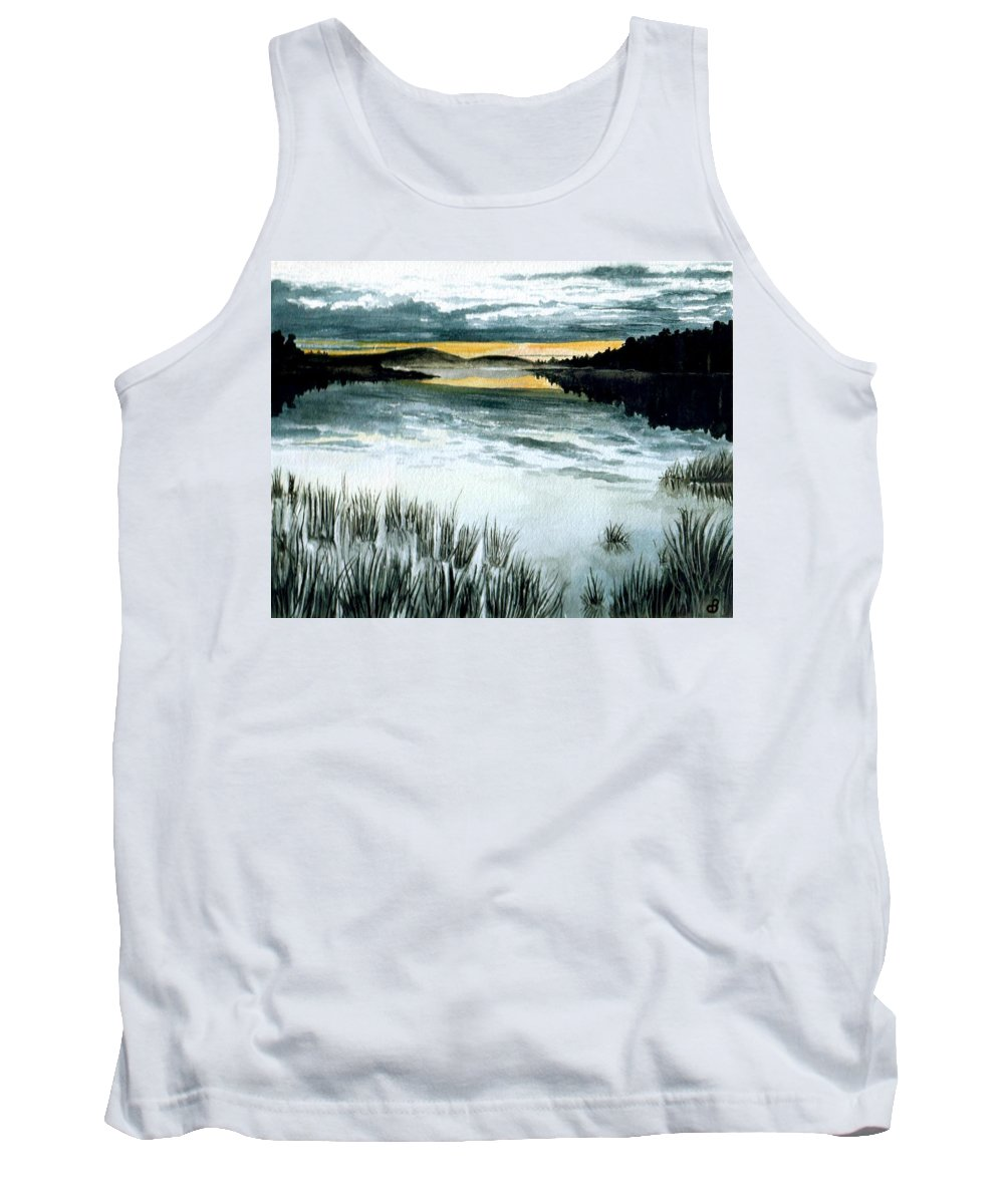 Watercolor Tank Top featuring the painting Midnight Sun by Brenda Owen