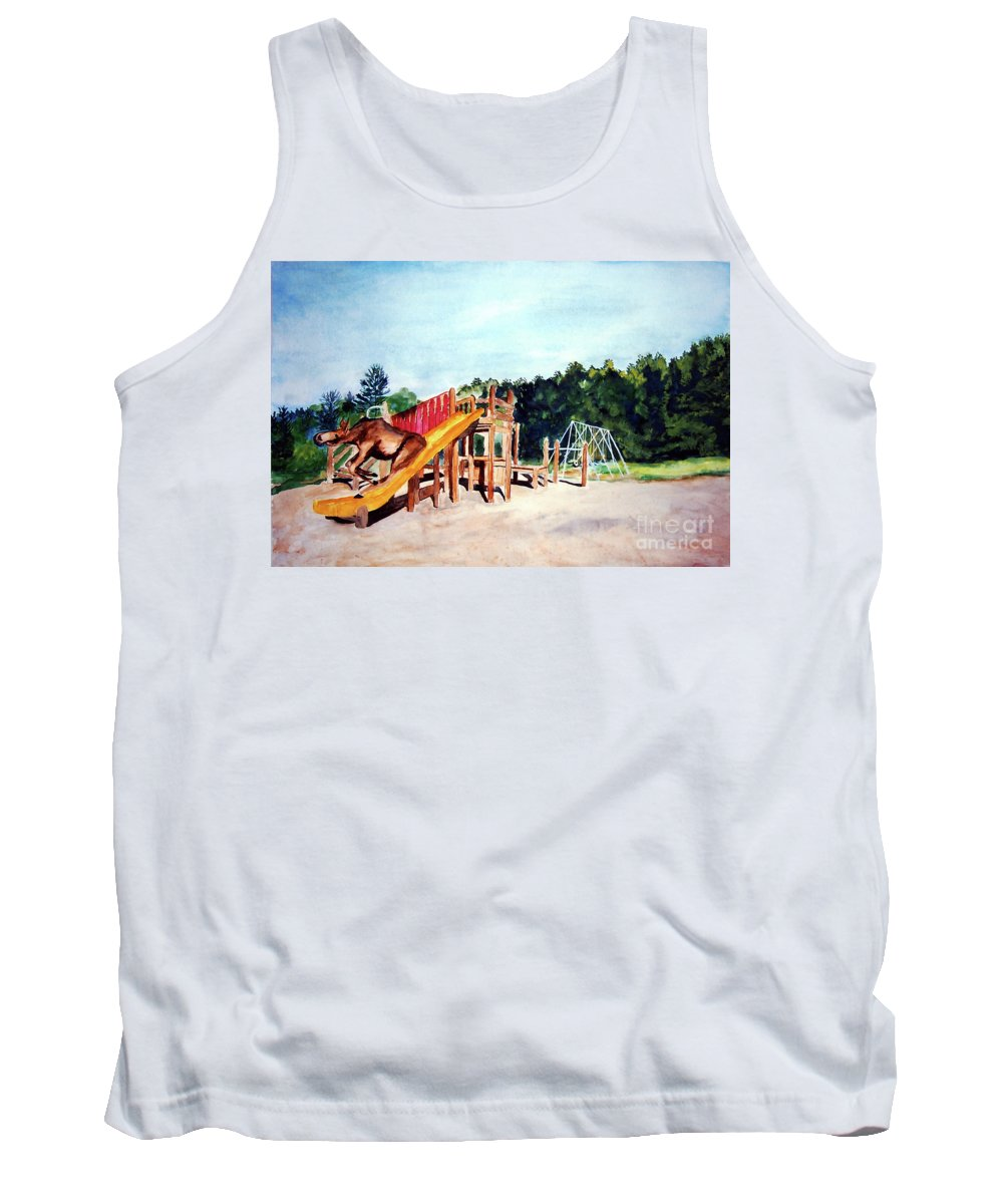 Moose Tank Top featuring the painting Mildred Goes Down The Slide by Stella Sherman