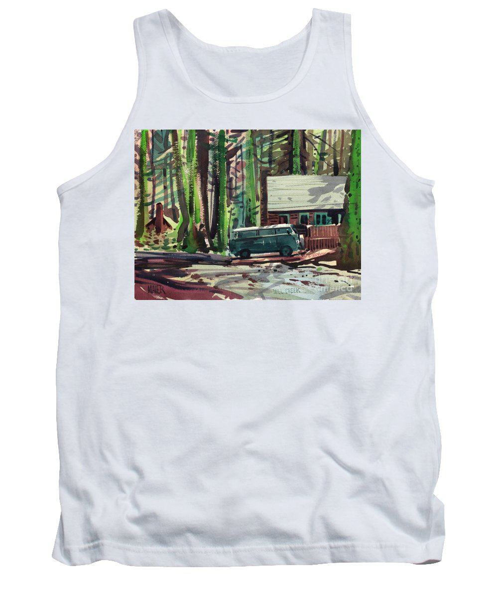 Mill Creek Tank Top featuring the painting Mill Creek Camp by Donald Maier