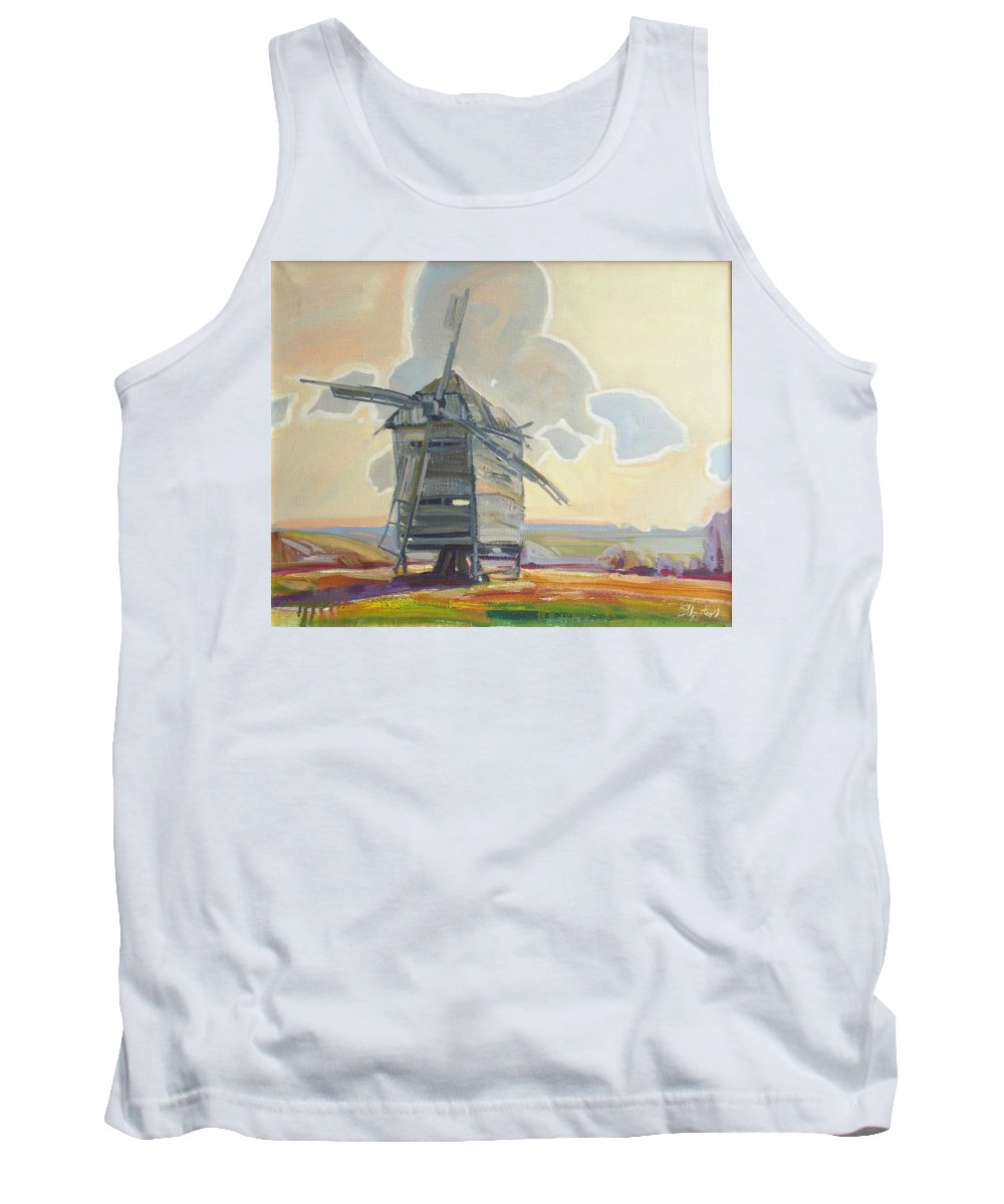 Oil Tank Top featuring the painting Mill by Sergey Ignatenko