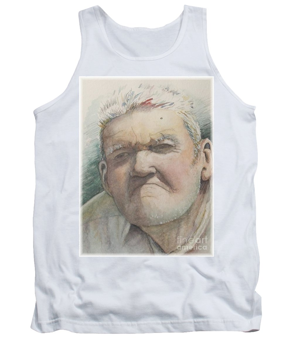 Portrait Tank Top featuring the painting Minnesota Farmer by Nadine Rippelmeyer