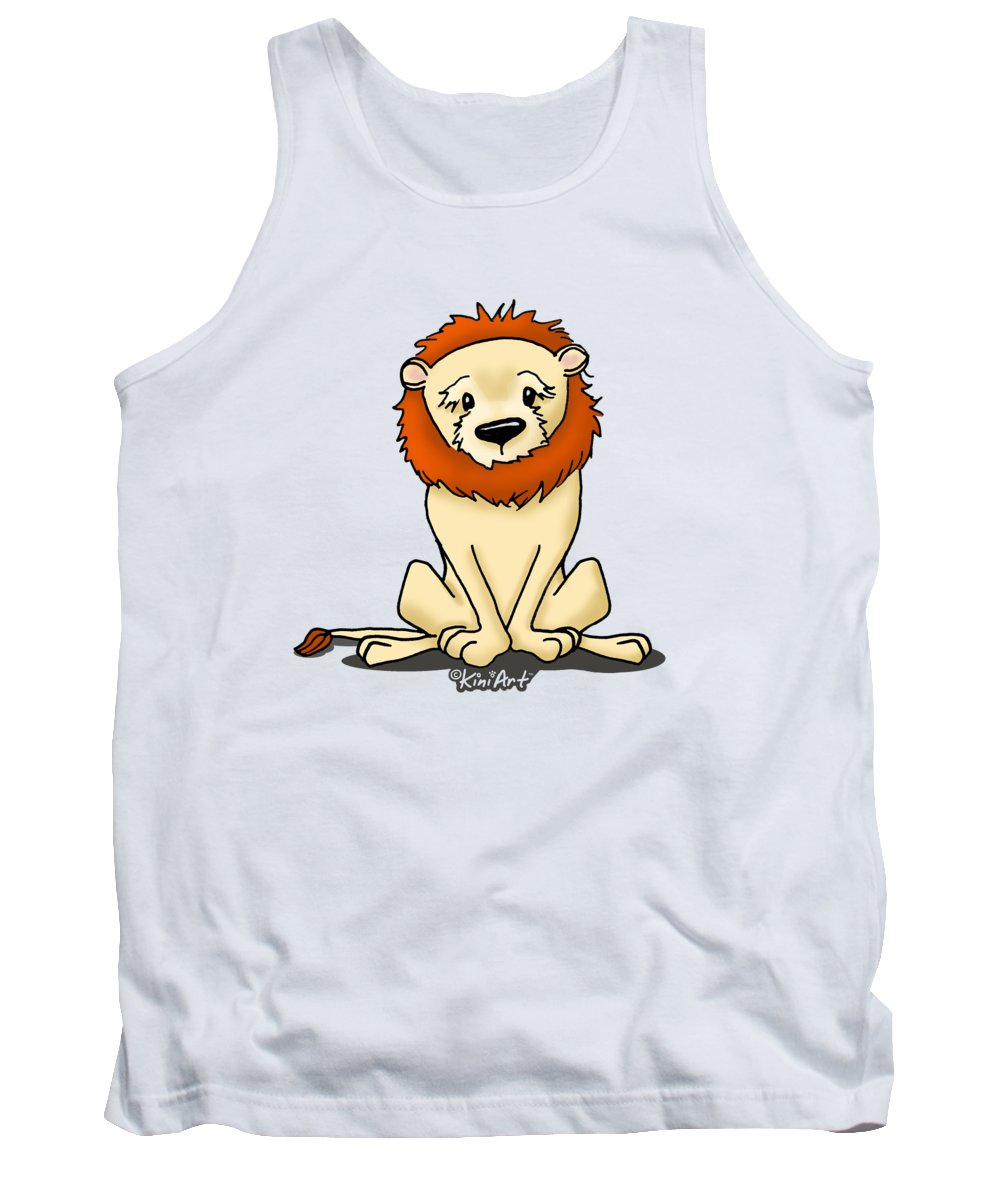 Lion Tank Top featuring the mixed media Lion Peaceful Reflection by Kim Niles