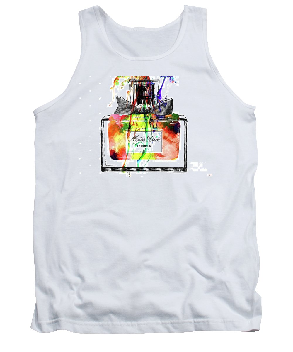 Miss Dior Grunge Tank Top featuring the mixed media Miss Dior Grunge by Daniel Janda
