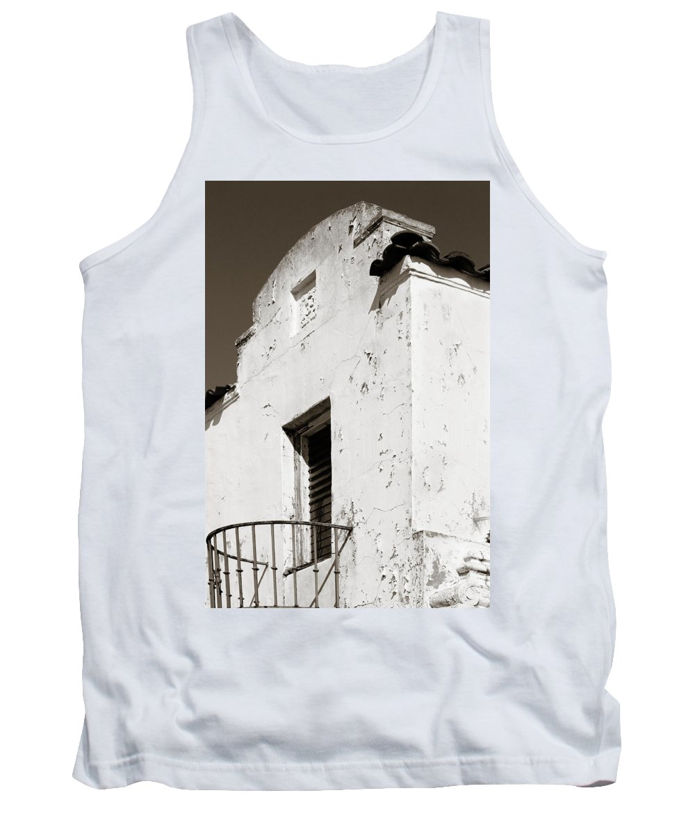 Mission Tank Top featuring the photograph Mission Stucco Building by Marilyn Hunt