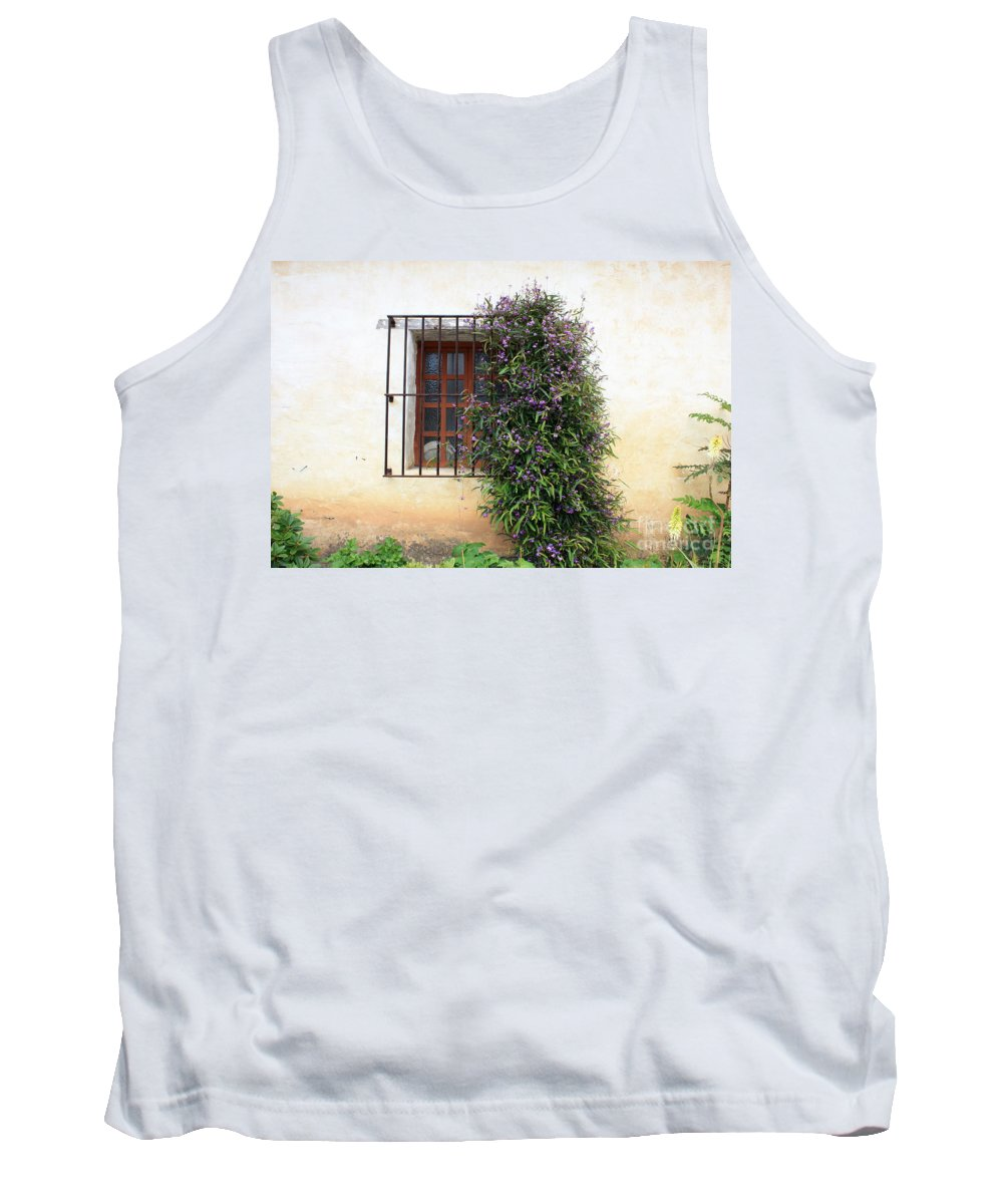 Purple Flowers Tank Top featuring the photograph Mission Window With Purple Flowers by Carol Groenen